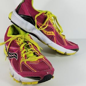 pink neon yellow lace up running shoes size 8